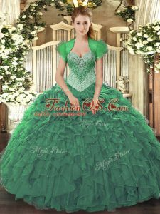 Beading and Ruffles Quinceanera Gowns Green Lace Up Sleeveless Floor Length