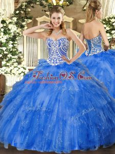 Glittering Sweetheart Sleeveless Tulle Quinceanera Dress Beading and Ruffles Lace Up