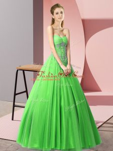 A-line Green Sweetheart Tulle Sleeveless Floor Length Lace Up