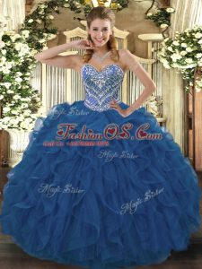 Sweetheart Sleeveless Sweet 16 Quinceanera Dress Floor Length Beading and Ruffled Layers Blue Tulle