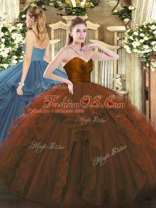 Fantastic Brown Sweetheart Zipper Ruffles Sweet 16 Dresses Sleeveless