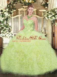 Sleeveless Organza Floor Length Lace Up Vestidos de Quinceanera in Yellow Green with Appliques and Ruffles