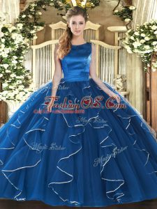 Customized Scoop Sleeveless Lace Up Vestidos de Quinceanera Blue Tulle