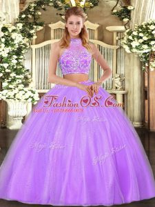 Halter Top Sleeveless Sweet 16 Quinceanera Dress Floor Length Beading Lilac Tulle