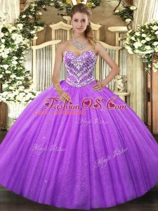 Lavender Sleeveless Tulle Lace Up Sweet 16 Quinceanera Dress for Military Ball and Sweet 16 and Quinceanera