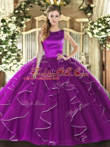 Noble Eggplant Purple Tulle Lace Up Quinceanera Dresses Sleeveless Floor Length Ruffles