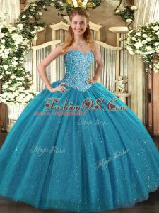 Superior Ball Gowns Quinceanera Dress Teal Sweetheart Tulle Sleeveless Floor Length Lace Up
