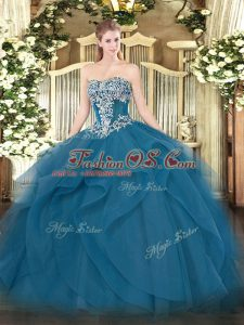 Sumptuous Floor Length Teal Vestidos de Quinceanera Tulle Sleeveless Beading and Ruffles