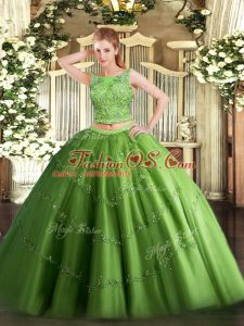 Sleeveless Tulle Floor Length Lace Up 15 Quinceanera Dress in Green with Beading and Appliques