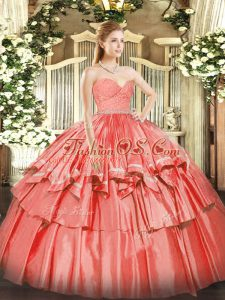 Vintage Watermelon Red Ball Gowns Organza Sweetheart Sleeveless Beading and Lace and Ruffled Layers Floor Length Zipper 15 Quinceanera Dress
