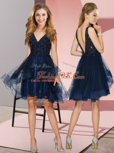 Navy Blue Sleeveless Knee Length Appliques and Ruffles Backless Quinceanera Dama Dress