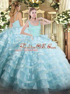 Custom Fit Straps Sleeveless Zipper Quinceanera Dresses Light Blue Organza