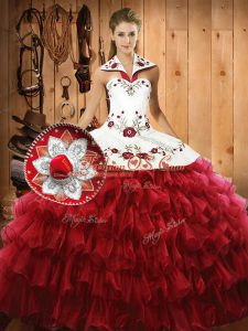 Custom Fit Wine Red Organza Lace Up Halter Top Sleeveless Floor Length 15 Quinceanera Dress Embroidery and Ruffled Layers