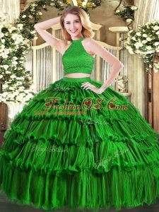 Custom Designed Green Ball Gowns Halter Top Sleeveless Organza Floor Length Backless Beading and Ruffled Layers Sweet 16 Dress
