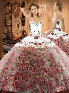 Romantic Multi-color Sweetheart Lace Up Embroidery Quinceanera Gown Sweep Train Sleeveless