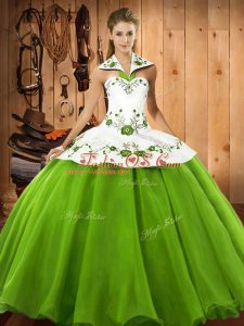 Sleeveless Satin and Tulle Lace Up Quinceanera Dresses for Military Ball and Sweet 16 and Quinceanera