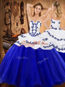 Royal Blue Sweet 16 Quinceanera Dress Military Ball and Sweet 16 and Quinceanera with Embroidery Strapless Sleeveless Lace Up