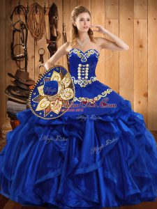 Royal Blue Sleeveless Embroidery and Ruffles Floor Length Quinceanera Gown