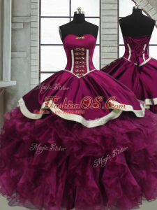 Discount Organza Sweetheart Sleeveless Lace Up Beading and Ruffles Quinceanera Dress in Fuchsia