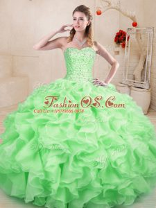 Excellent Apple Green Lace Up Vestidos de Quinceanera Beading and Ruffles Sleeveless Floor Length