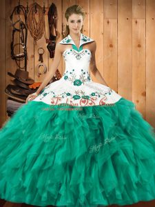 New Style Sleeveless Embroidery and Ruffles Lace Up Quinceanera Gowns