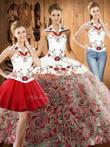 Multi-color Halter Top Neckline Embroidery Sweet 16 Quinceanera Dress Sleeveless Lace Up