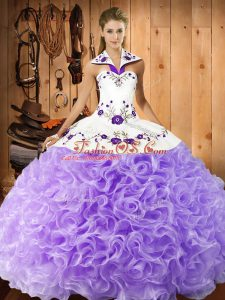 Halter Top Sleeveless Quinceanera Dress Floor Length Embroidery Lavender Fabric With Rolling Flowers
