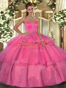 Beading and Ruffled Layers 15 Quinceanera Dress Hot Pink Lace Up Sleeveless Floor Length