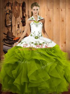 Floor Length Olive Green Sweet 16 Dress Halter Top Sleeveless Lace Up