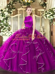 Captivating Scoop Sleeveless Organza Sweet 16 Dresses Ruffles Clasp Handle