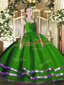 Green Straps Neckline Ruffled Layers and Ruching Sweet 16 Dress Sleeveless Zipper