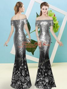Short Sleeves Sequined Floor Length Zipper Evening Dress in Silver with Sequins