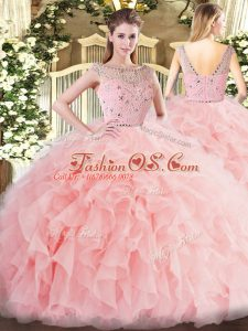 Romantic Baby Pink Ball Gowns Tulle Bateau Sleeveless Beading and Ruffles Floor Length Zipper Vestidos de Quinceanera