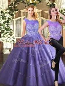 Perfect Lavender Sleeveless Floor Length Beading Zipper Sweet 16 Quinceanera Dress