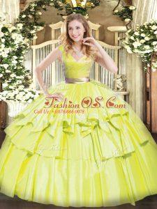 Floor Length Ball Gowns Sleeveless Yellow Green 15 Quinceanera Dress Zipper