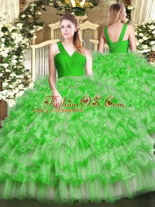 Ideal Green Zipper V-neck Ruffled Layers Quinceanera Dresses Organza Sleeveless
