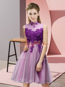 Lilac Empire Appliques Bridesmaid Dress Lace Up Tulle Sleeveless Knee Length