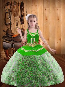 New Style Multi-color Fabric With Rolling Flowers Lace Up Straps Sleeveless Floor Length High School Pageant Dress Embroidery and Ruffles