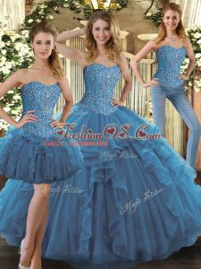 Classical Teal Ball Gowns Sweetheart Sleeveless Tulle Floor Length Lace Up Beading and Ruffles Sweet 16 Dress