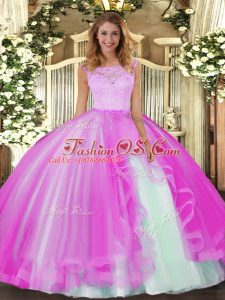 Glittering Fuchsia Scoop Clasp Handle Lace and Ruffles Quinceanera Gown Sleeveless