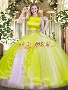 Edgy Two Pieces Vestidos de Quinceanera Yellow Green High-neck Tulle Sleeveless Floor Length Criss Cross