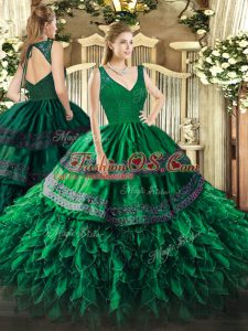 V-neck Sleeveless Zipper Quinceanera Dress Dark Green Organza