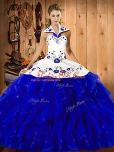 Blue And White Sleeveless Satin and Organza Lace Up Quince Ball Gowns for Military Ball and Sweet 16 and Quinceanera