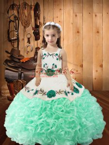 Cheap Fabric With Rolling Flowers Sleeveless Floor Length Pageant Dresses and Embroidery and Ruffles