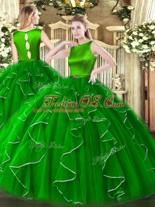 Exquisite Green Ball Gowns Ruffles Quince Ball Gowns Clasp Handle Organza Sleeveless Floor Length