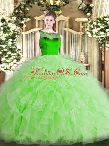 Deluxe Organza Sleeveless Floor Length Sweet 16 Dresses and Beading and Ruffles