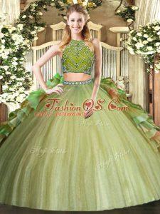 Elegant Olive Green High-neck Neckline Beading and Ruffles Quinceanera Dresses Sleeveless Zipper