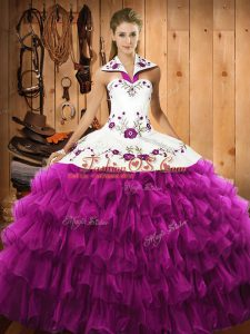Fuchsia Sleeveless Satin and Organza Lace Up Sweet 16 Quinceanera Dress for Military Ball and Sweet 16 and Quinceanera