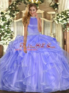 Lavender Organza Backless Halter Top Sleeveless Floor Length Sweet 16 Dress Beading and Ruffles