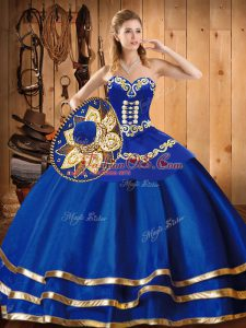 Sleeveless Lace Up Floor Length Embroidery Quince Ball Gowns